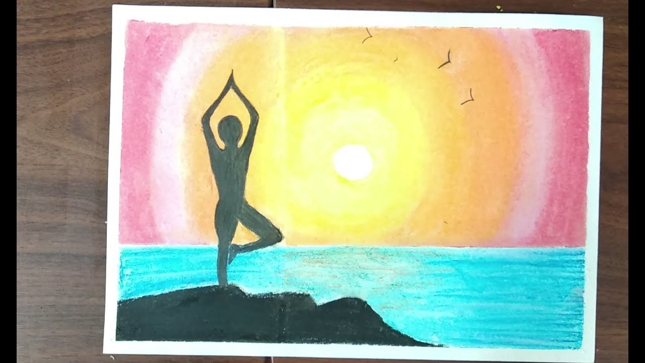 International Yoga Day Drawing With Oil Pastels Easy Way Youtube