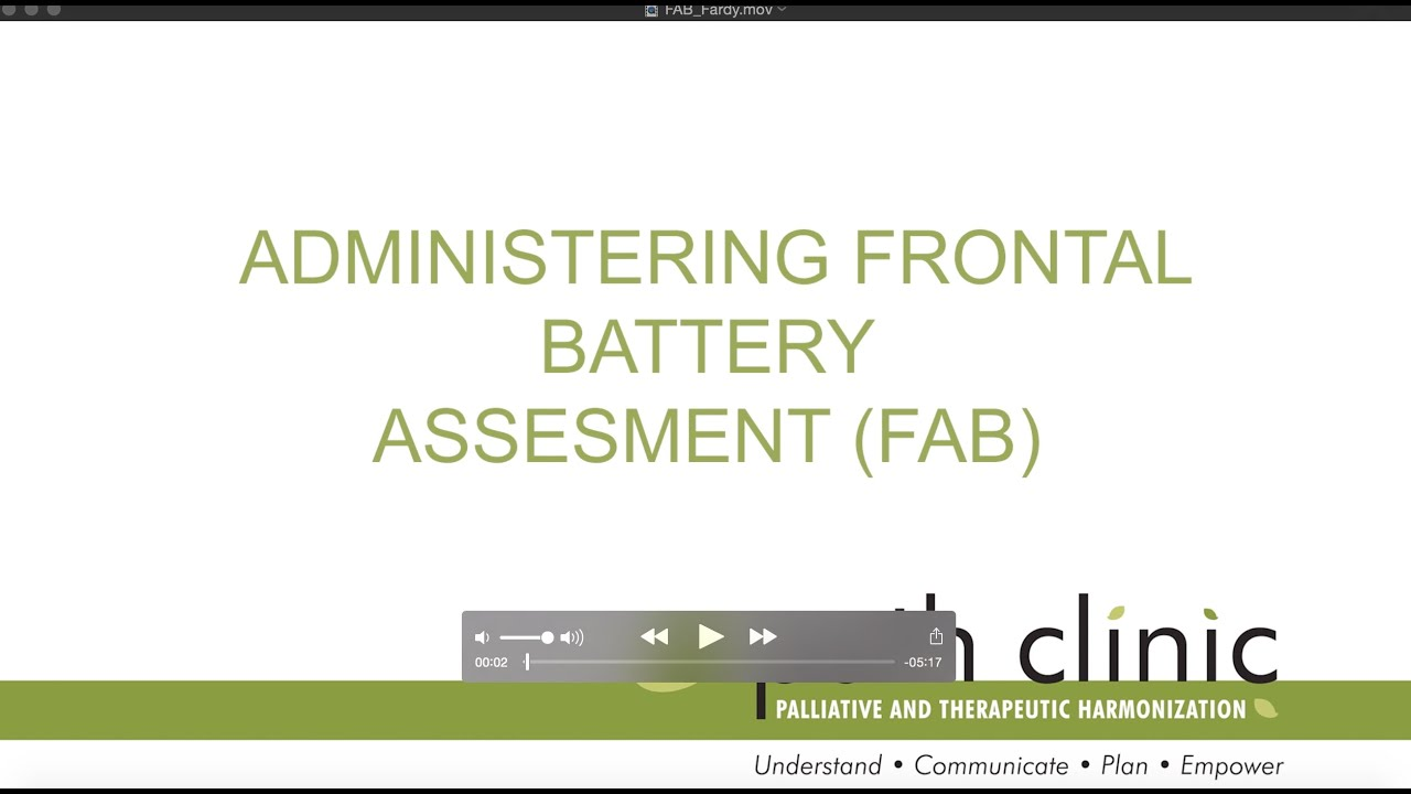 Administering Frontal Battery Assessment Fab Youtube For children 7 years and older and adults. administering frontal battery assessment fab