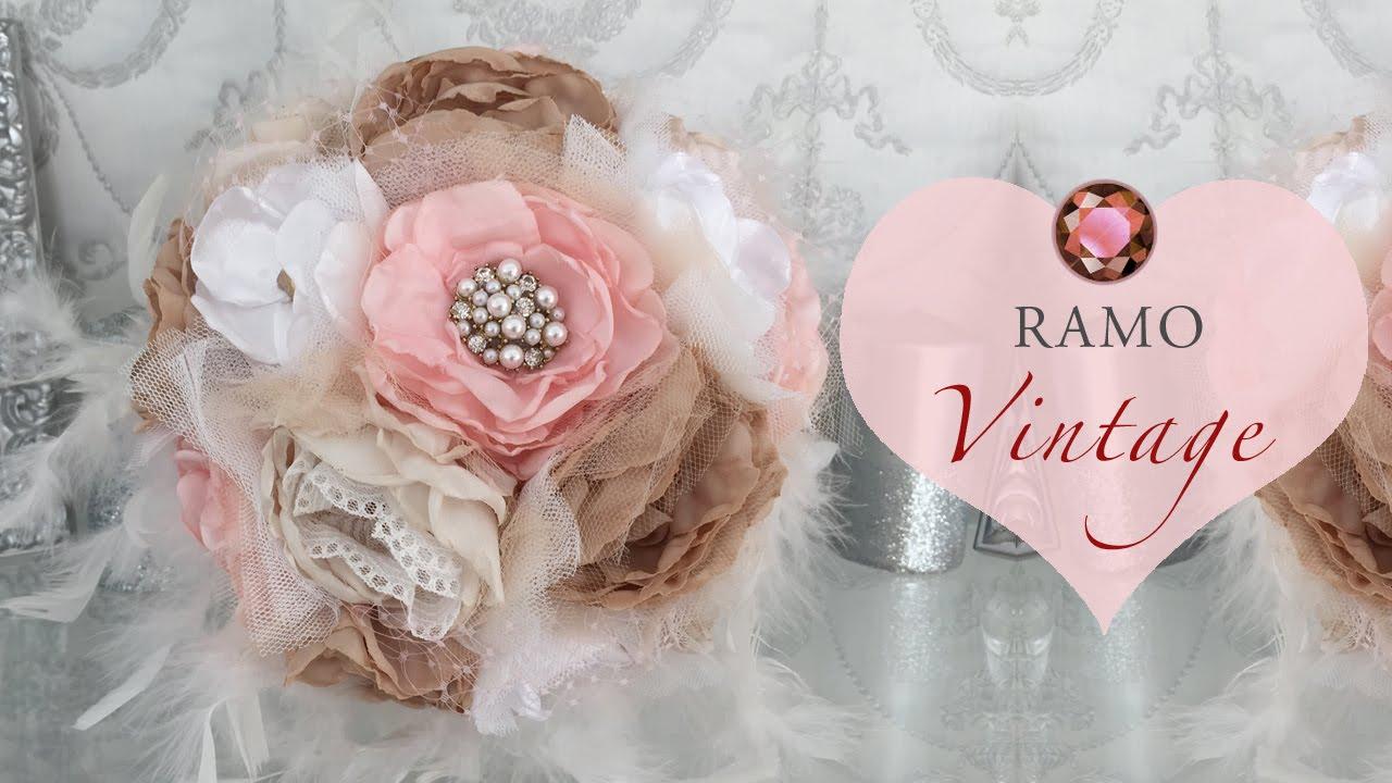 Ramo de novia con flores de tela youtube - Flores de telas hechas a mano ...