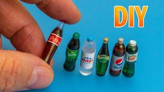 DIY Realistic Miniature Glass bottles | DollHouse | No Polymer Clay!