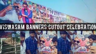 Viswasam Thala Ajith Banners Cutout Celebration Fan's Crowd MARANA MASS | Bangalore Central...