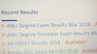 ANU Degree Results Release 2018|Check Here|Hemanth|