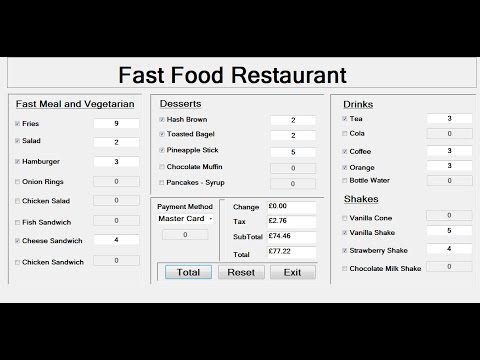 How to Create a Fast Food Restaurant Systems in Visual Basic.Net - Tutorial 1 of 3