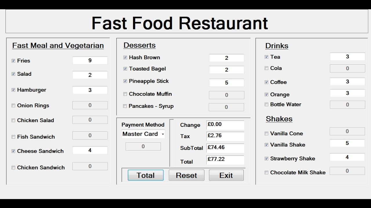 How To Create A Food Menu In Excel
