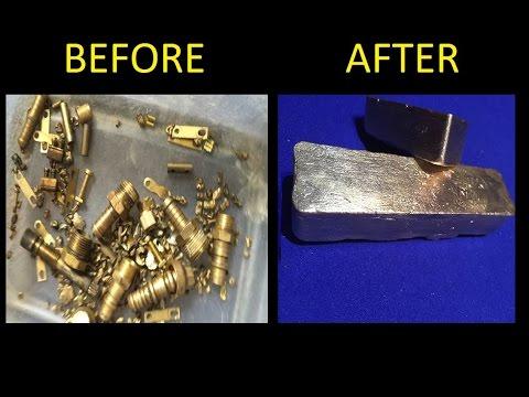 Melting Brass Scrap Into Ingots full melt. 1080p Ingot View -  April 2016