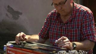 """David hartley performs a country music tune during the introductory seminar on pedal steel guitar held at molise international blues festival """"macchia bl..."""