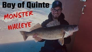Ice Fishing For MONSTER Bay Of Quinte Walleye (Personal Best)
