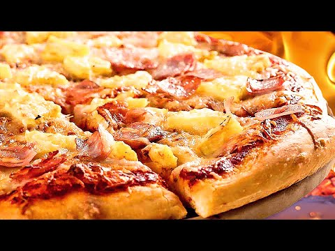 Homemade Hawaiian Pizza With Pineapple, Cheese & Pork Ham