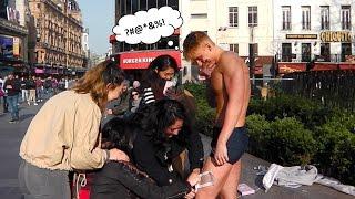 Girls Wax Topless Guy in Public!