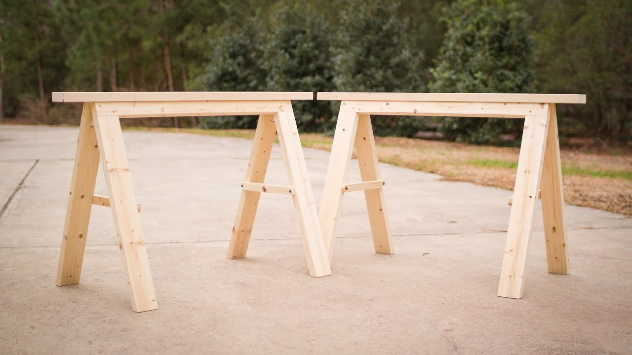build a pair of sturdy folding sawhorses youtube. Black Bedroom Furniture Sets. Home Design Ideas