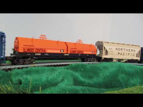 O Scale GTW GP9 diesel pulling GTW, GN, NP, IC, D&TS, CN, D&RGW freight cars
