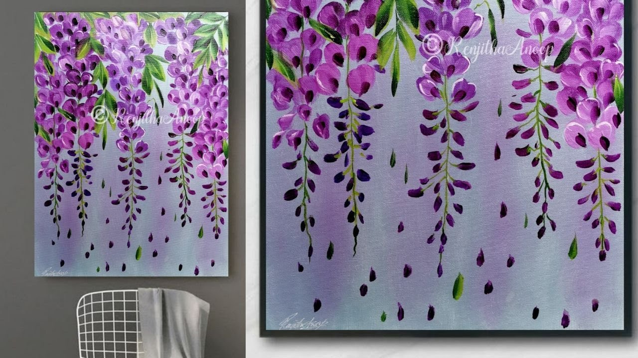 Step By Acrylic Painting On Canvas For Beginners Purple Flower Art Home Ideas Youtube