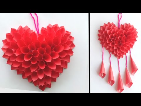 wall-hanging-craft-ideas-|-easy-paper-heart-wall-hanging-|-home-decorating-ideas-|-paper-craft