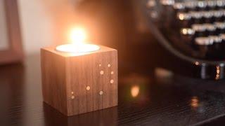 Walnut & Brass Constellation Candle Holder
