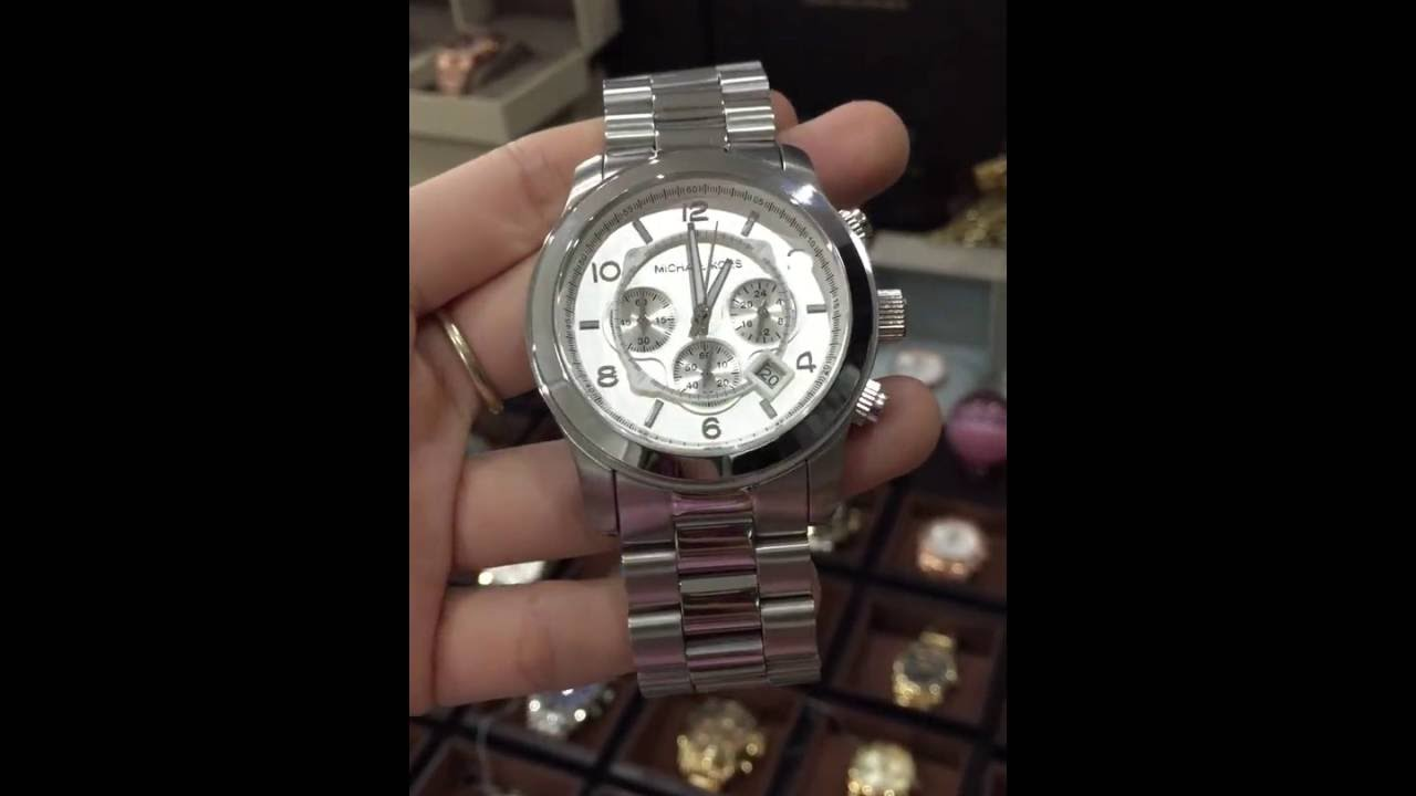 e665e507801f Michael Kors Watches Oversized Silver Runway Watch MK8086 - YouTube