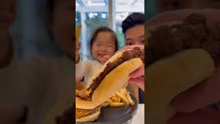 Father and daughter try MrBeast Burger #shorts