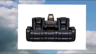 Seatcraft Transformer Reclining Sofa With Power And Drop Down Table Black