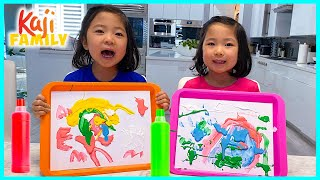 DIY Fluffy Paint Art for kids with Emma and Kate!!!