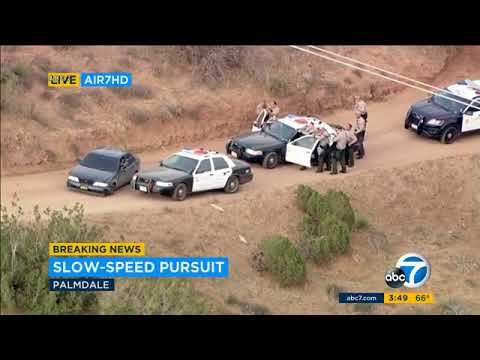RAW VIDEO: Slow-speed chase suspect in custody after standoff with LA County deputies | ABC7