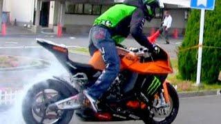 【バイク神業】教習所で一本橋に挑戦!ばくおん!木下真輔Bike Stunt Ninja Japan Shin Kinoshita【TRIUMPH STREET TRIPLE】