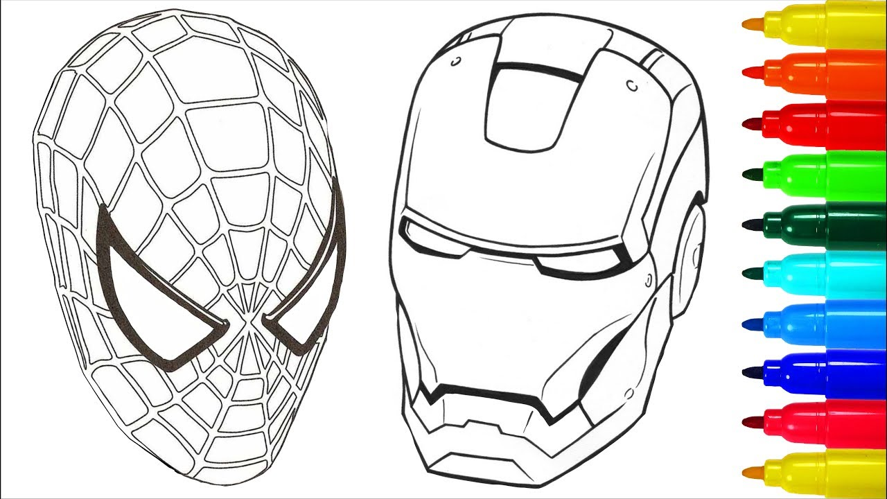 awesome spiderman and ironman coloring pages image collection