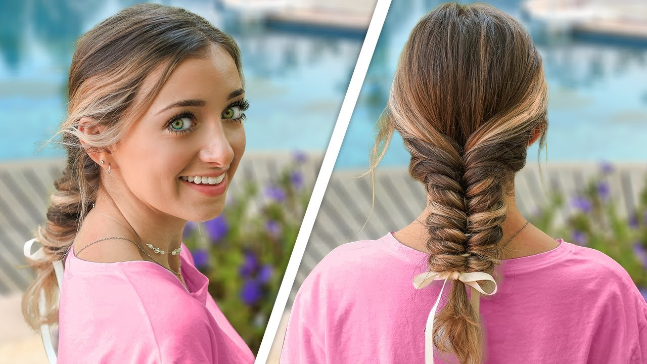 Brooklyn's EASY Ribbon Fishtail Braid | DIY Summer Hairstyle