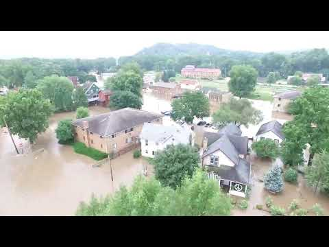 Aerial drone footage of Mazomanie WI flooding