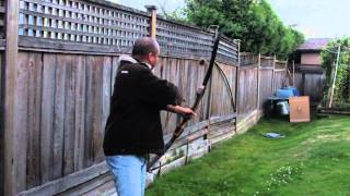 Shooting A Samick Sage Takedown Recurve Bow with 60# Limbs