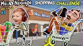 Hello Neighbor Shopping Challenge! New House Tour + Walmart Has Evil Mannequins!  Fgteev Beta 3 #1