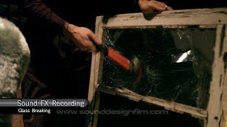 Sound effects recording glass breaking