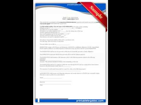 Free printable Bank Loan Agreement Forms