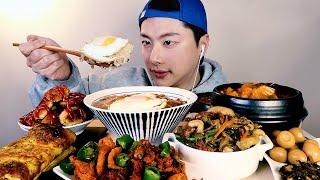 SUB)밥도둑 집밥먹방!! 리얼사운드 한식먹방ASMR🍚Korean Homemade Food MUKBANG 韓食 간장게장 계란밥 김치찌개 계란말이 돈가스 제육볶음 잡채 동그랑땡