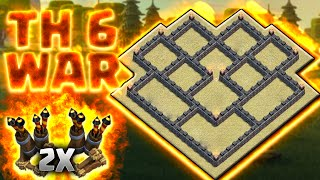 MELHOR LAYOUT GUERRA CV6 COM DUAS DEFESAS AÉREAS – BEST TH6 WAR BASE 2X AIR DEFENSE - CLASH OF CLANS