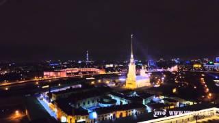 Санкт-Петербург: Дворцовый Мост, Биржа, Петропавлоскя крепость, ночная съемка с воздуха(, 2016-04-24T13:08:50.000Z)