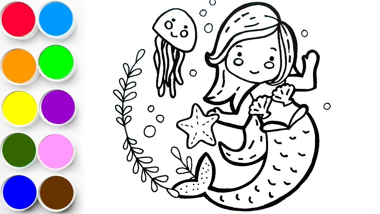 Aprende a Dibujar y Colorear Una Sirenita - Dibujos Para Niños Fáciles Paso a Paso / FunKeep Art