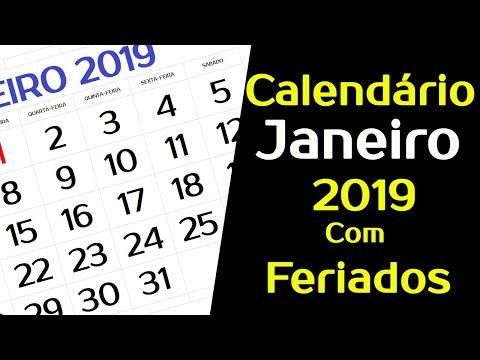 CALEND�RIO JANEIRO 2019 COM FERIADOS E FASES DA LUA