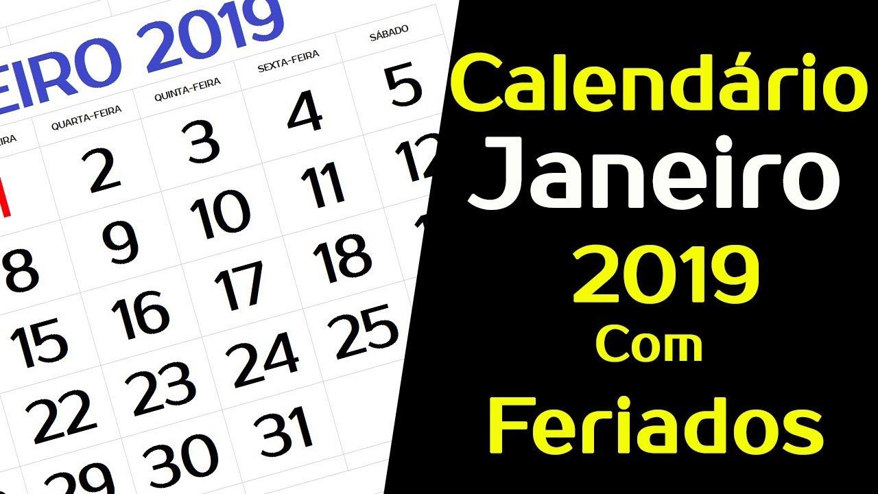 Calendario Mostre Foi 2019.Calendario Janeiro 2019 Com Feriados E Fases Da Lua