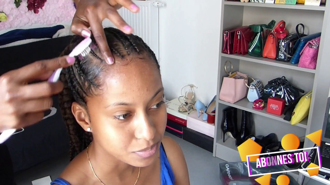 HAIRSTYLE CURLY HAIR / Tresse collé chignon tutorial 👍🏾 - YouTube