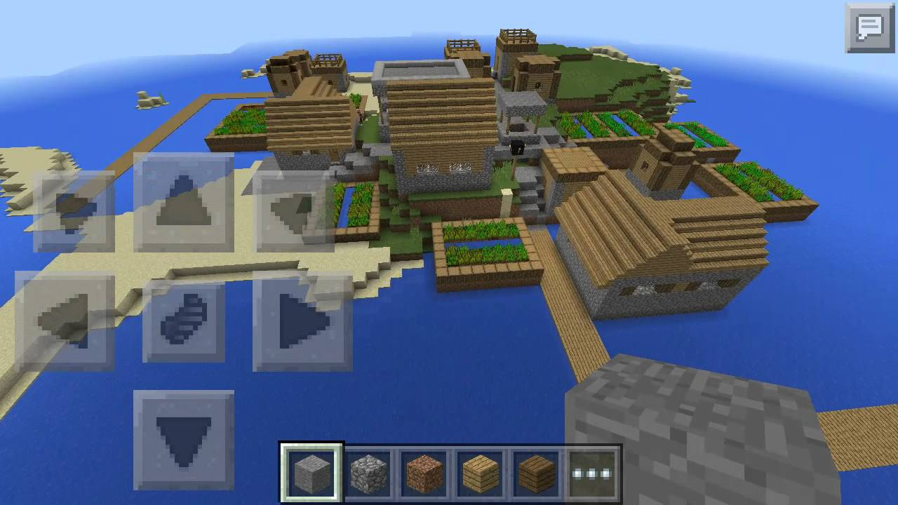 MCPE Seed: 1421809520 | Fishing Village Island - YouTube