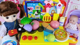 Baby doll and kitchen cooking food toys play - 토이몽