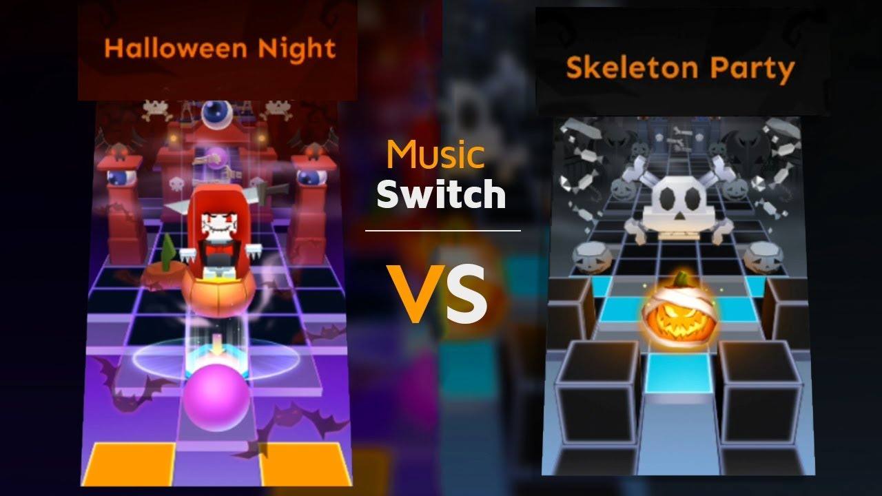 Rolling Sky Halloween Night.Rolling Sky Halloween Night Vs Skeleton Party Music Switch Shavibe