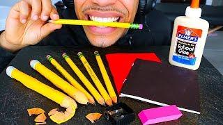 ASMR EDIBLE SCHOOL SUPPLIES *PRANK* EATING PENCILS GLUE NOTEBOOK PAPER MUKBANG 먹방 MOUTH SOUNDS