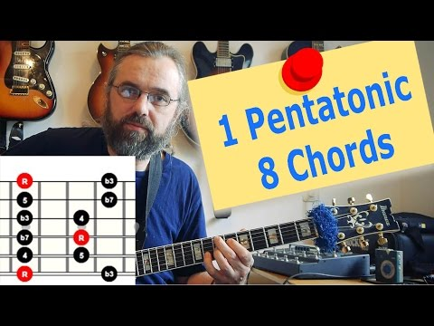 1 Pentatonic Scale over 8 Chords - Jazz Guitar lesson