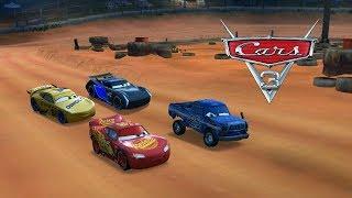 Disney Cars 3 Drag Race #16   Lightning Mcqueen Vs Jackson Storm Vs Broadside
