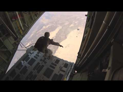 USMC Force Recon Platoon Conducts Night Parachute Operations Over Djibouti - Night Vision