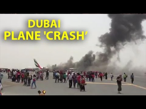 WATCH: #Emirates flight catches fire after landing in Dubai