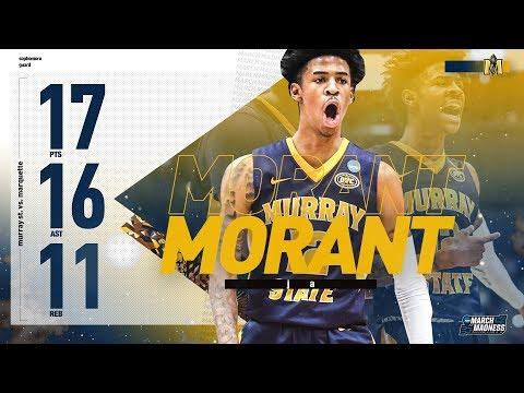 Projected NBA 2nd overall pick Ja Morant triple-double on the first night of March Madness 17pt/16ast/11reb
