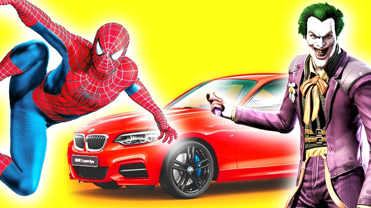 Learn Colors Cars Bmw With Spiderman And Joker For Children Baby