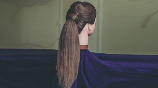 Beautiful ponytail. Hairstyle for long and medium hairstyle