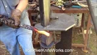 Steve Berglund Making  Custom Chainsaw Damascus for Iron River Knife Works - Video 2